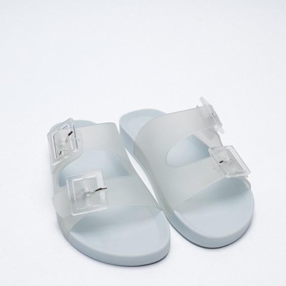 Zara Rubberized Buckled Slide Sandals
